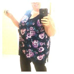 Navy and purple dress shirt, women's plus size